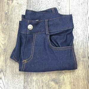 Dark Denim Blue Stretchy Capri Jeggings